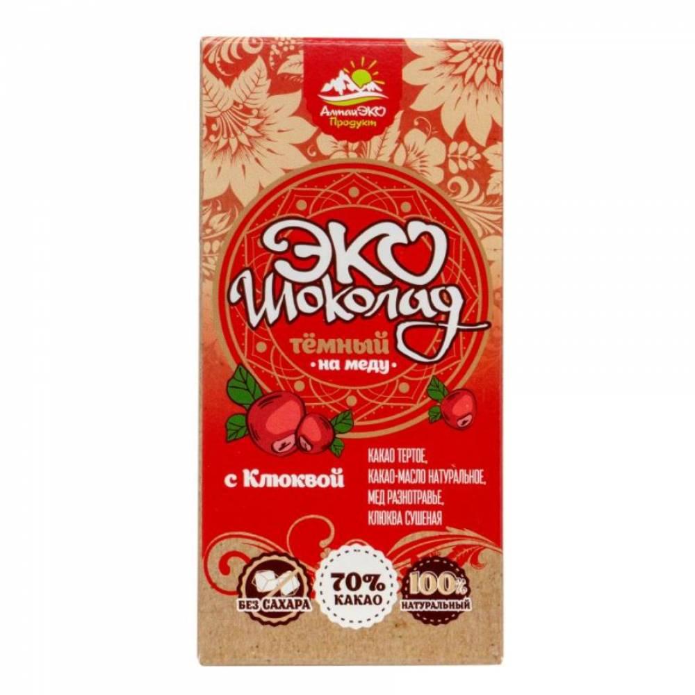 Натуральный шоколад на меду 70% какао с Клюквой АлтайЭкоПродукт, 75 гр