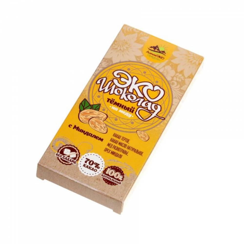 Натуральный шоколад на меду 70% какао с Миндалем АлтайЭкоПродукт, 75 гр