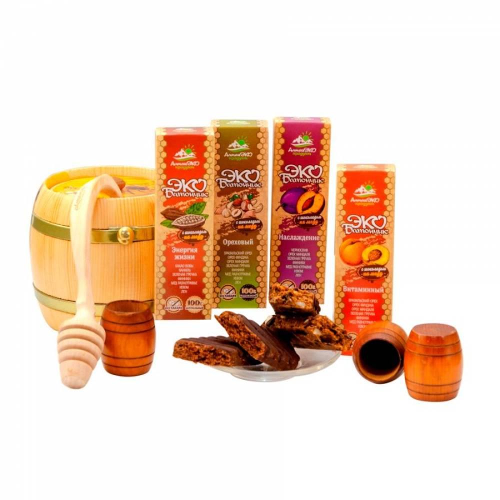 Батончик Эко с шоколадом на меду Наслаждение АлтайЭкоПродукт, 45 гр