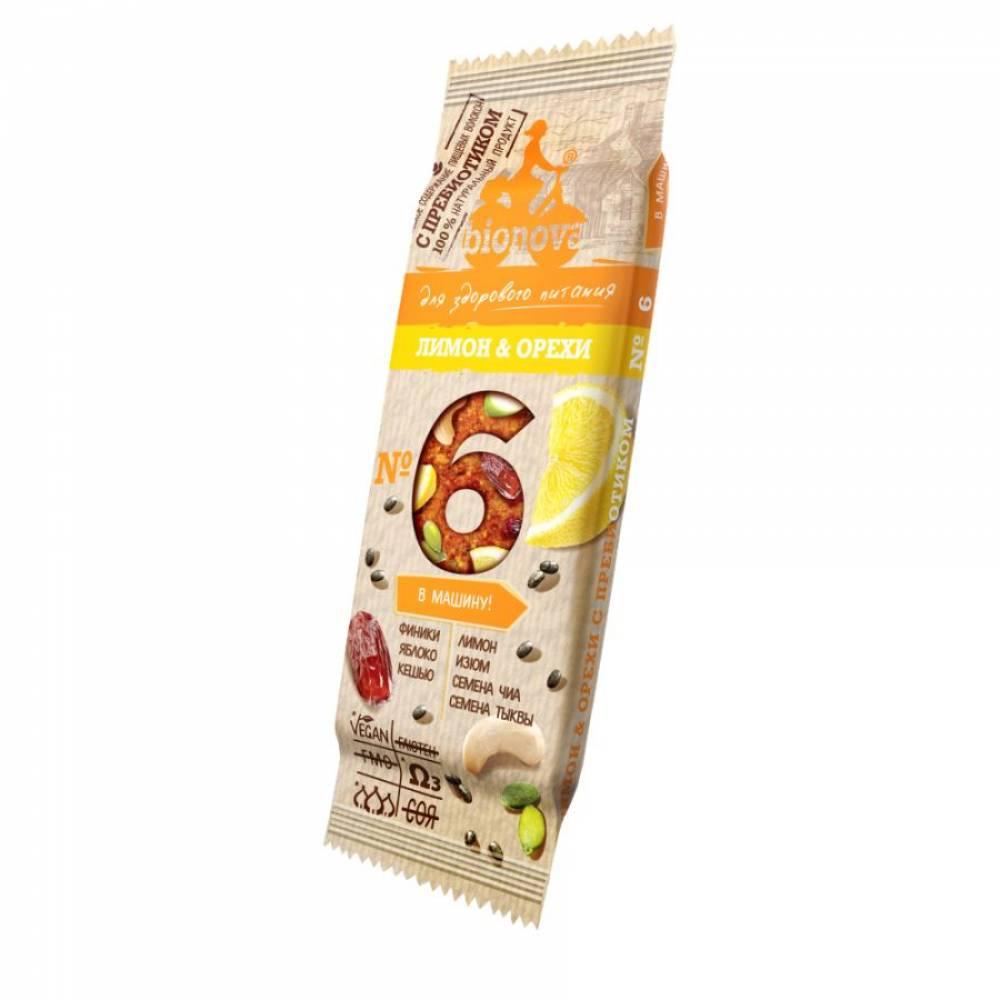 Фруктовый батончик Бионова лимон и орехи с пребиотиком, 35 гр