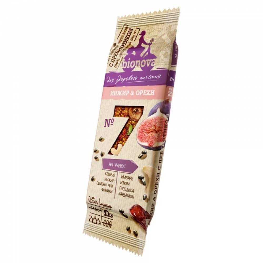 Фруктовый батончик Бионова инжир и орехи с пребиотиком, 35 гр