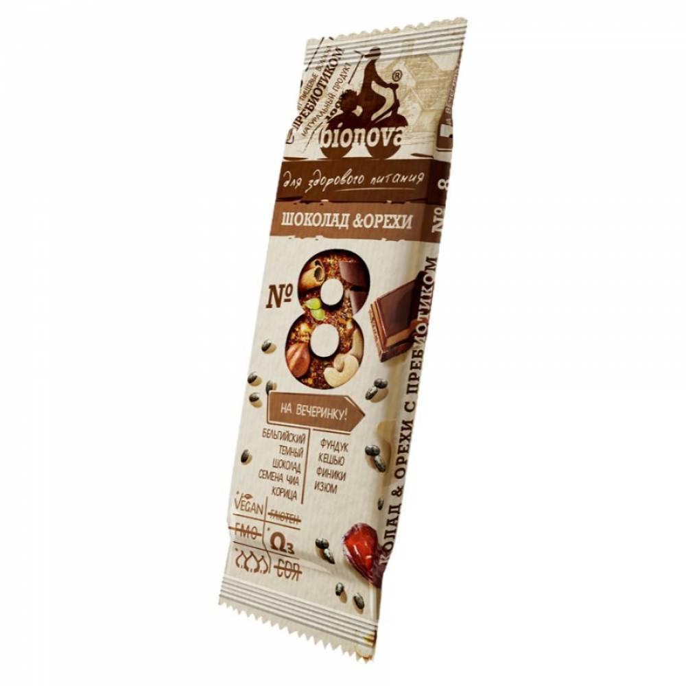 Фруктовый батончик Бионова шоколад и орехи с пребиотиком, 35 гр