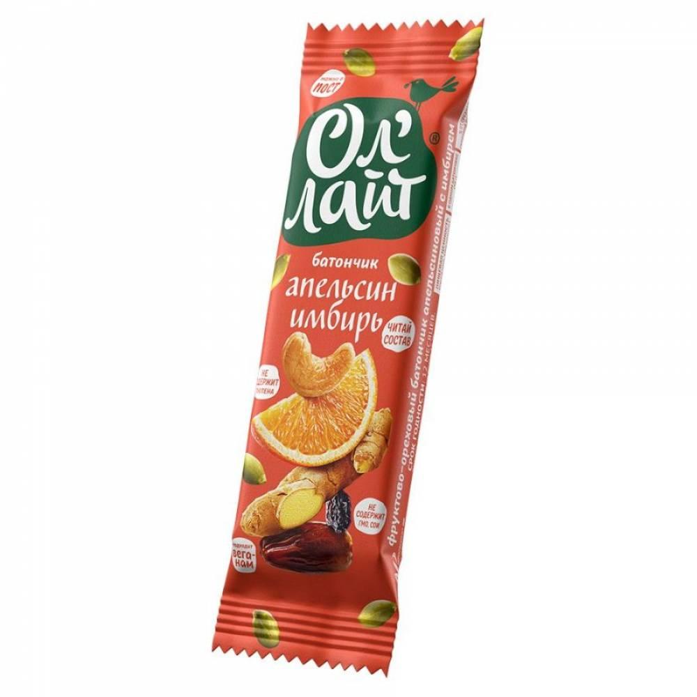 Фруктовый батончик ОлЛайт орехи, апельсин и имбирь, 30 гр