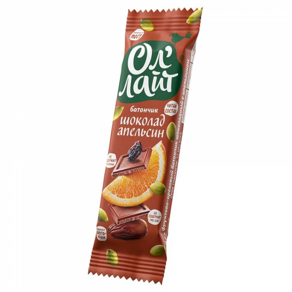 Фруктовый батончик ОлЛайт орехи, шоколад и апельсин, 30 гр