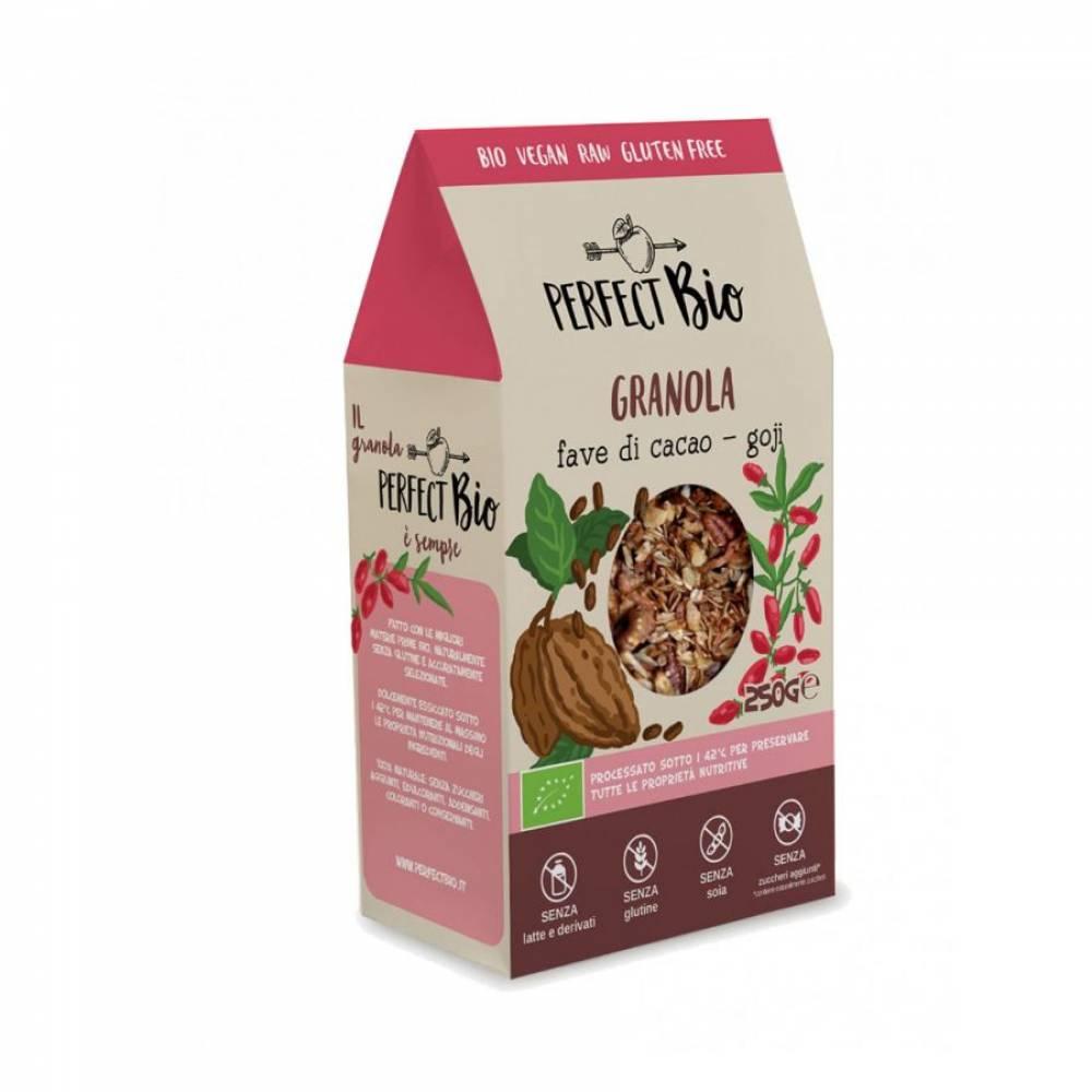 Гранола без глютена с какао и ягодами Годжи, Perfect Bio, 250 гр