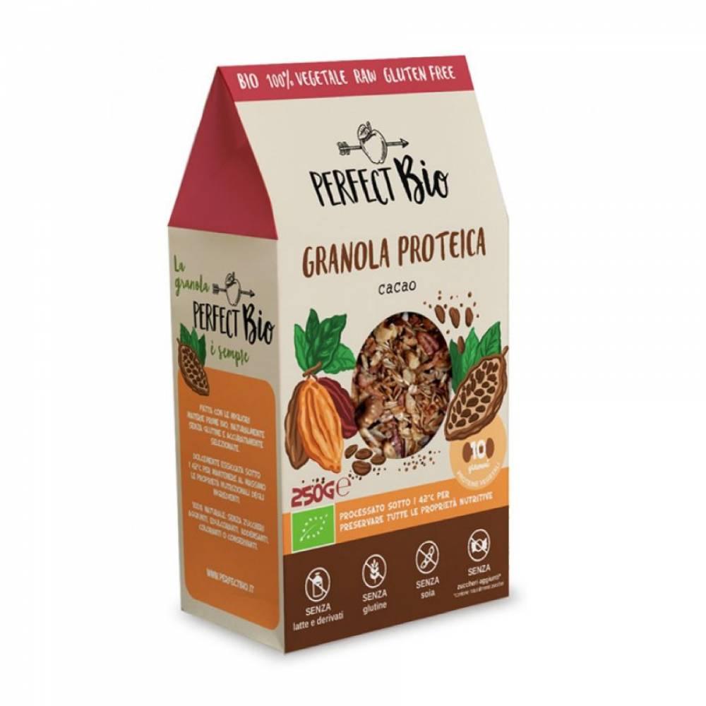 Гранола без глютена с какао с высоким содержанием протеина, Perfect Bio, 250 гр