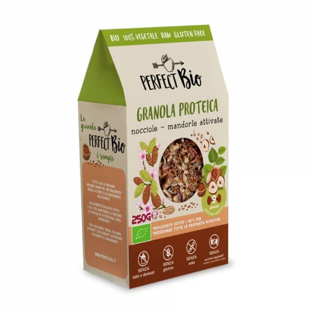 Гранола без глютена с фундуком и миндалем с высоким содержанием протеина, Perfect Bio, 250 гр