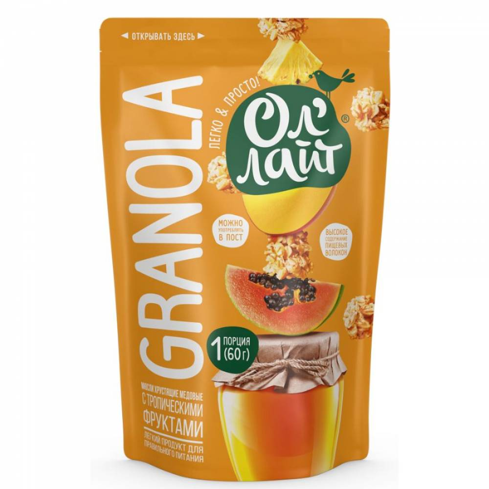 Гранола ОлЛайт с тропическими фруктами, 60 гр