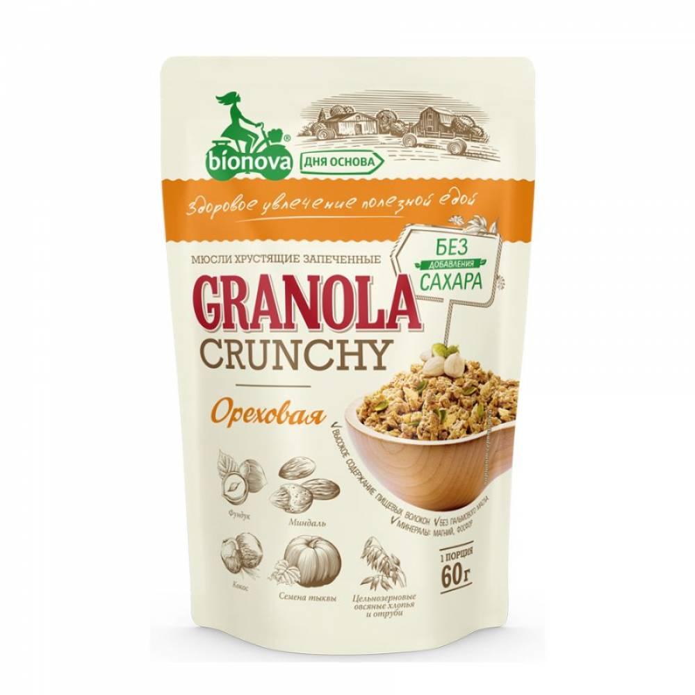 Гранола ореховая без сахара Бианова, 60 гр