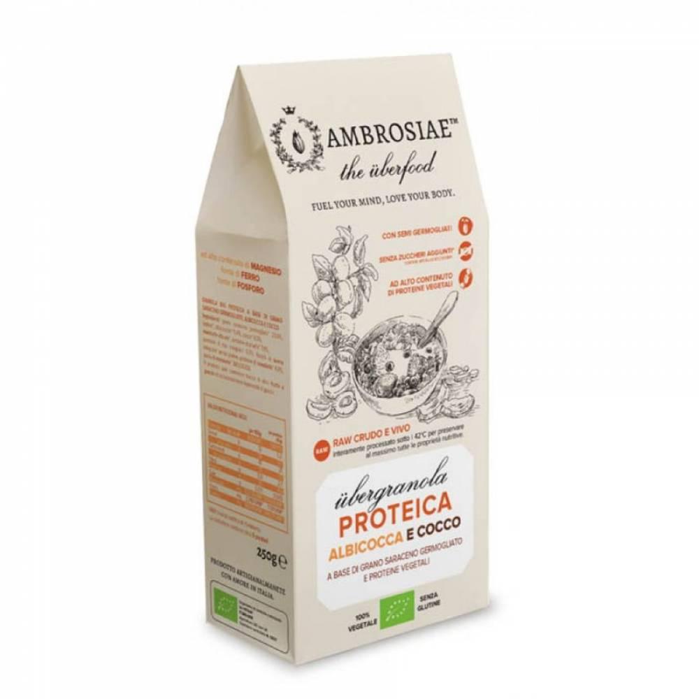 Гранола без глютена с Абрикосом и Кокосом из пророщенной гречихи с высоким содержанием протеина, Ambrosiae, 250 гр