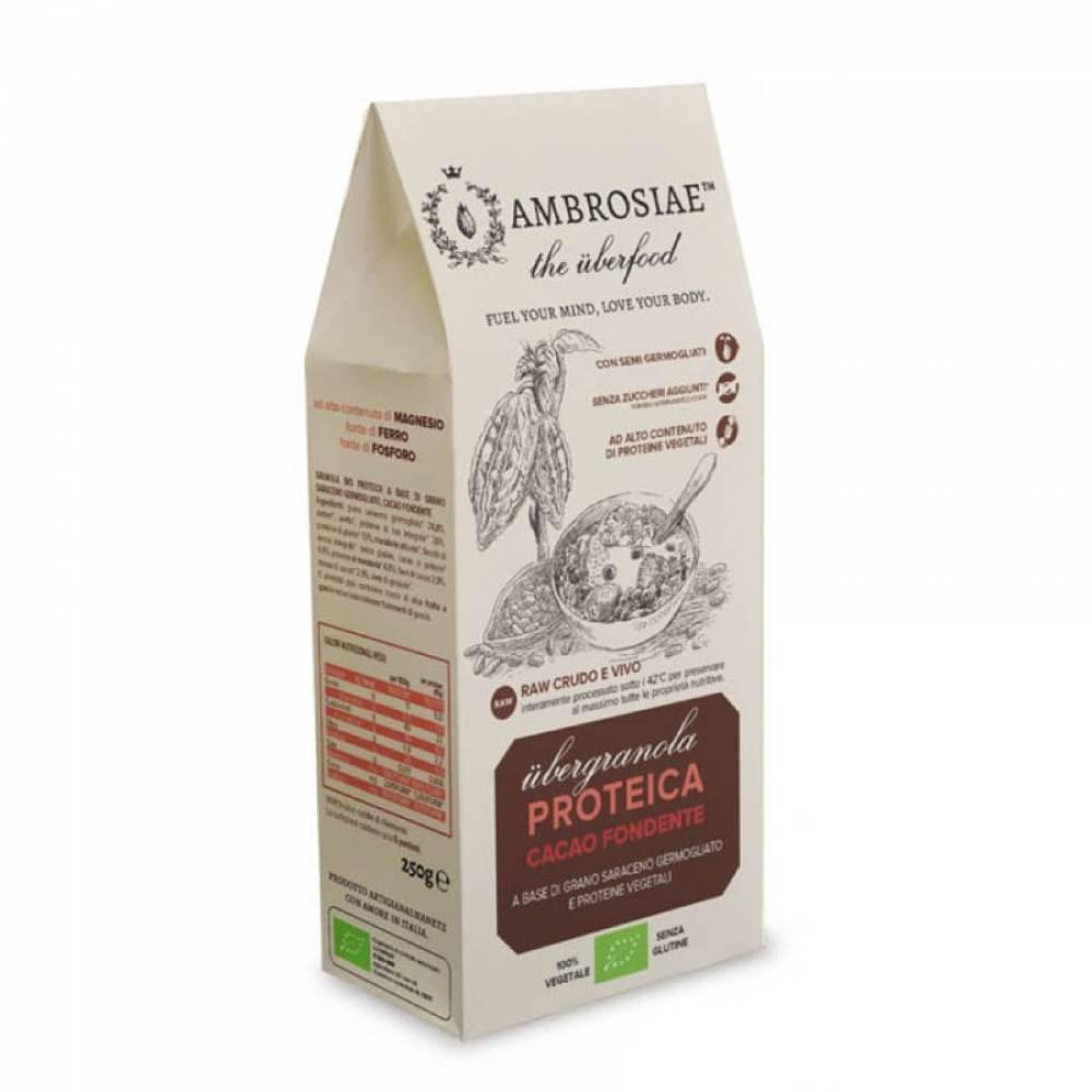 Гранола без глютена с темным шоколадом из пророщенной гречихи с высоким содержанием протеина, Ambrosiae, 250 гр