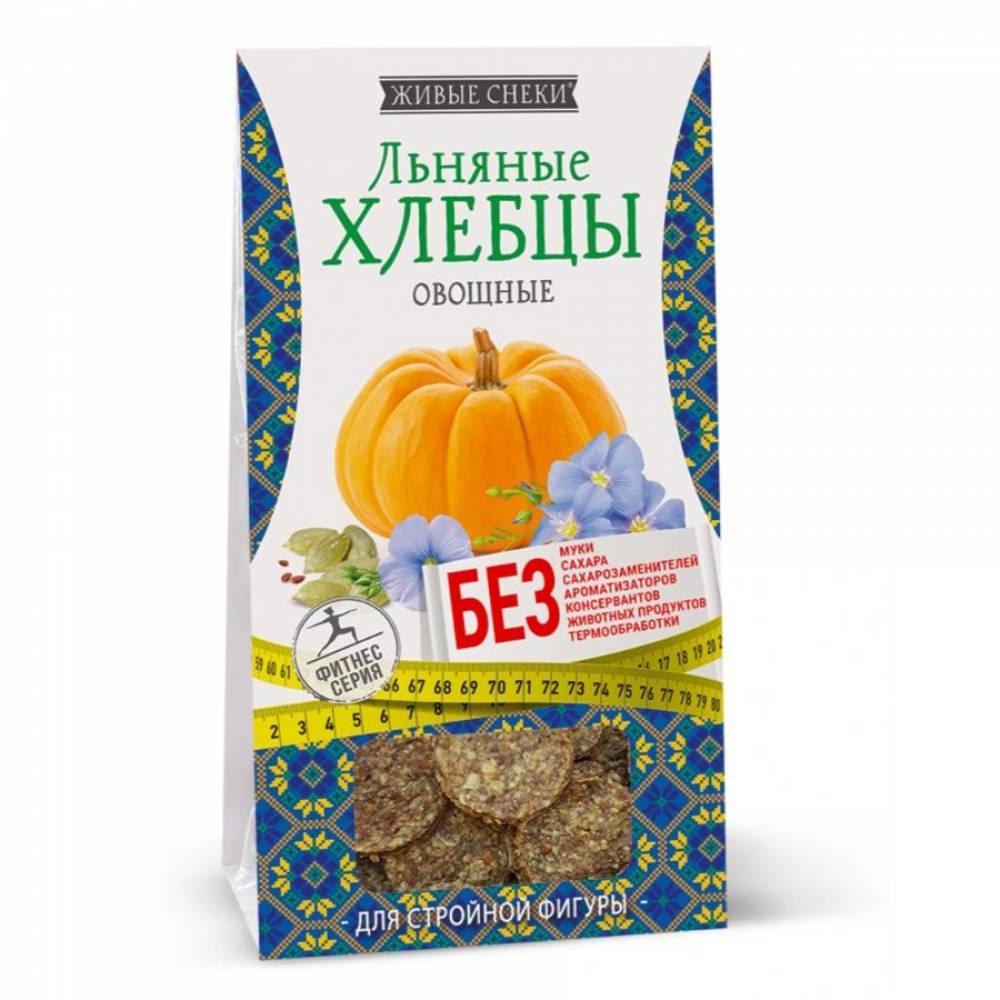 Льняные хлебцы овощные Живые снеки, 50 гр
