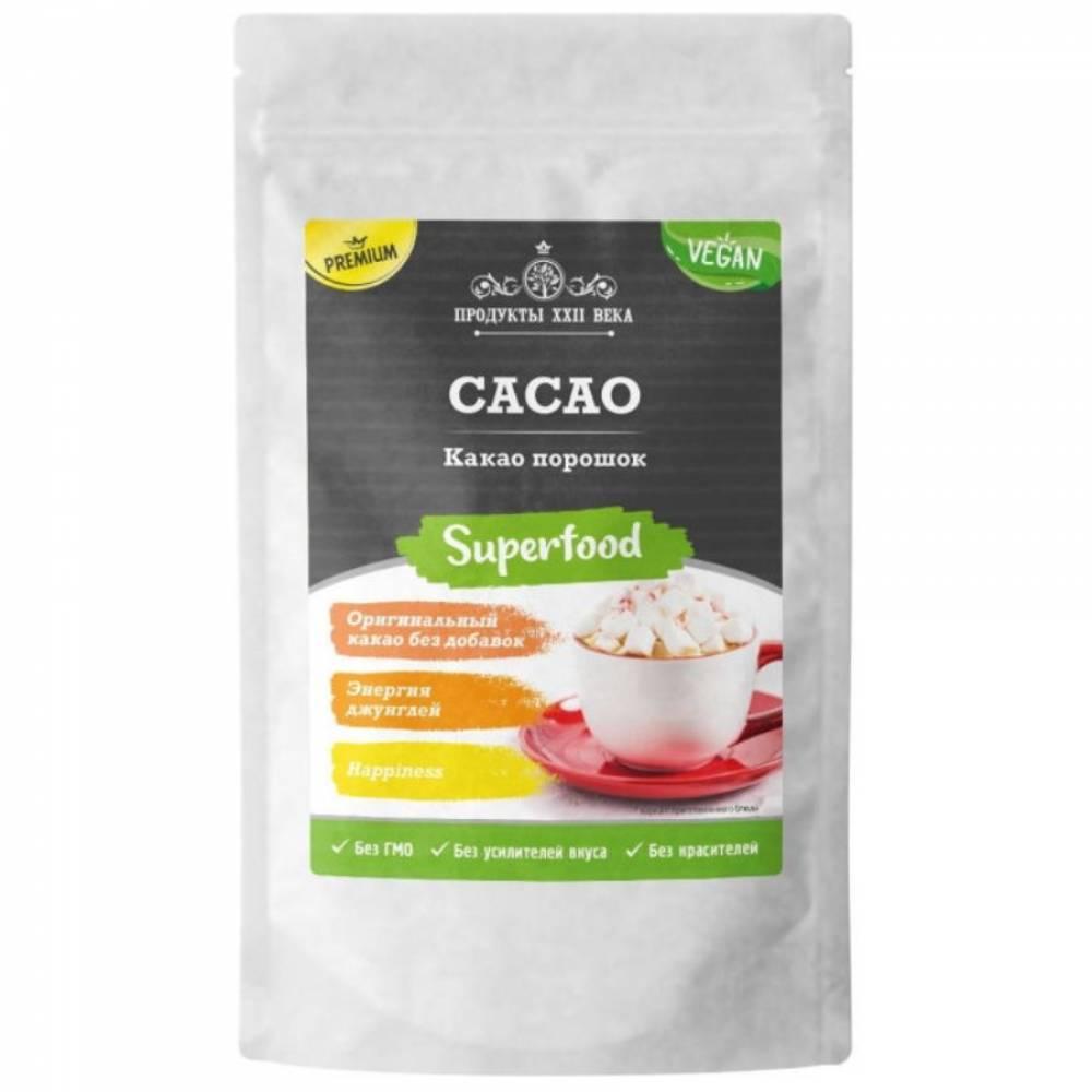 Какао порошок натуральный премиум Продукты XXII века, 100 гр