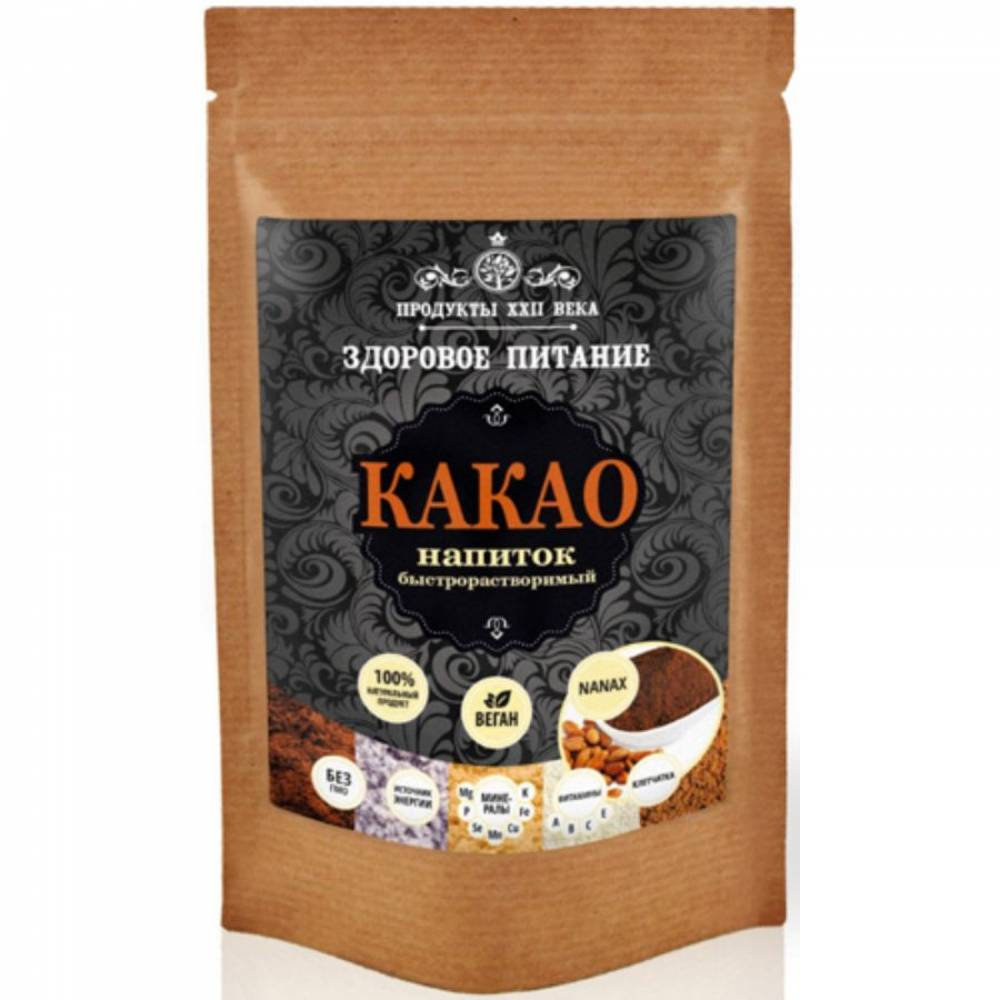 Какао напиток быстрорастворимый Продукты XXII века премиум, 100 гр