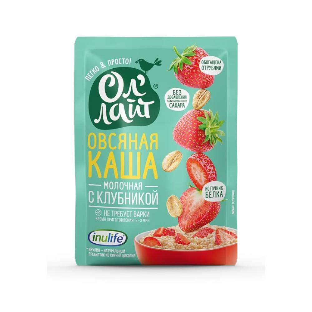 Овсяная каша молочная быстрого приготовления ОлЛайт с клубникой, 40 гр