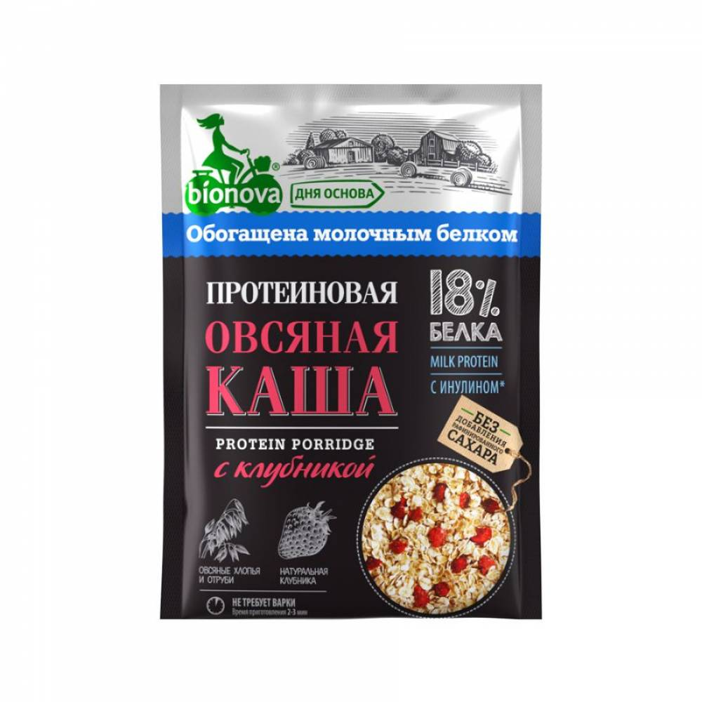 Овсяная каша быстрого приготовления Бионова, протеиновая с клубникой, 40 гр