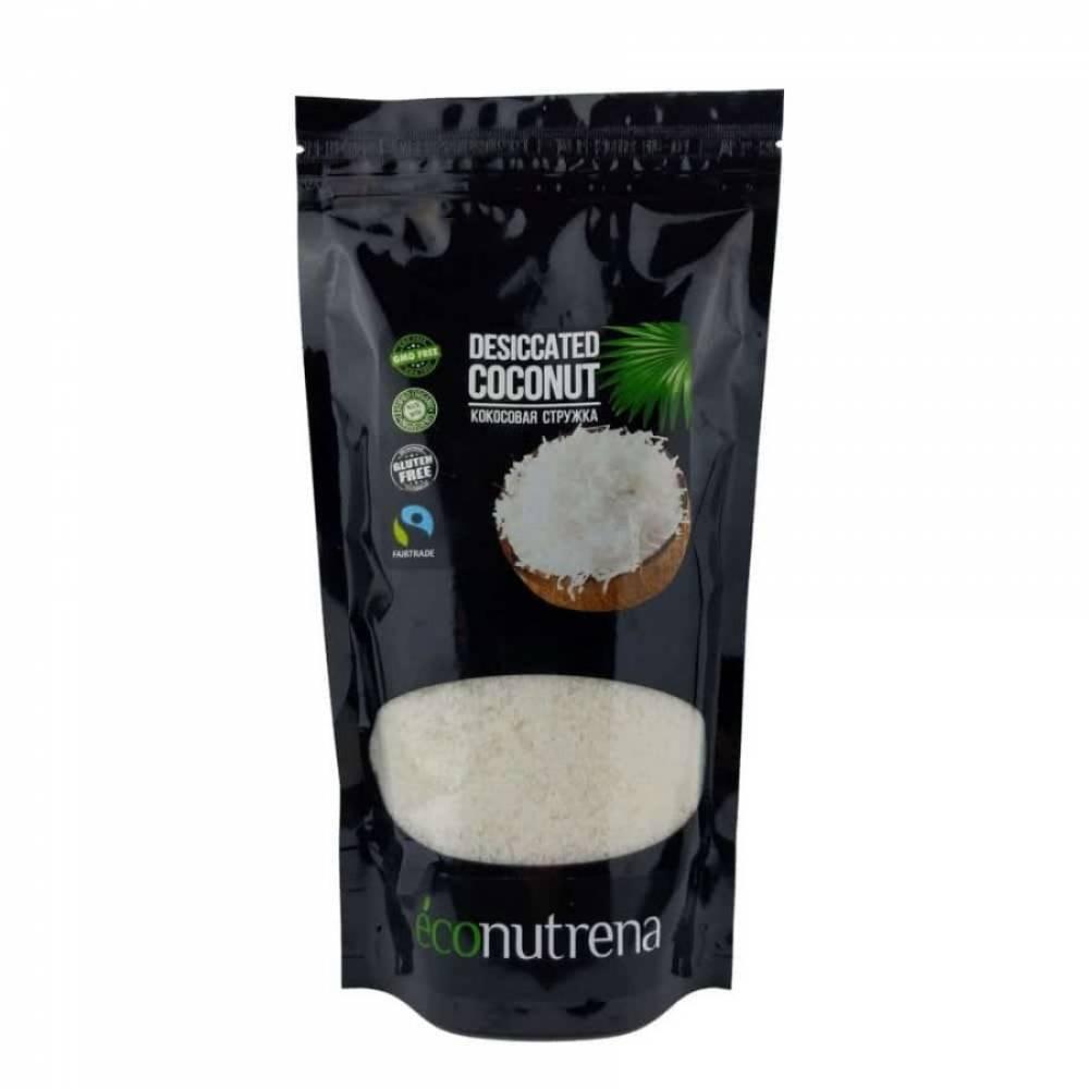 Кокосовая стружка Econutrena United Spices 100% органика, высокой жирности 65%, 250 гр