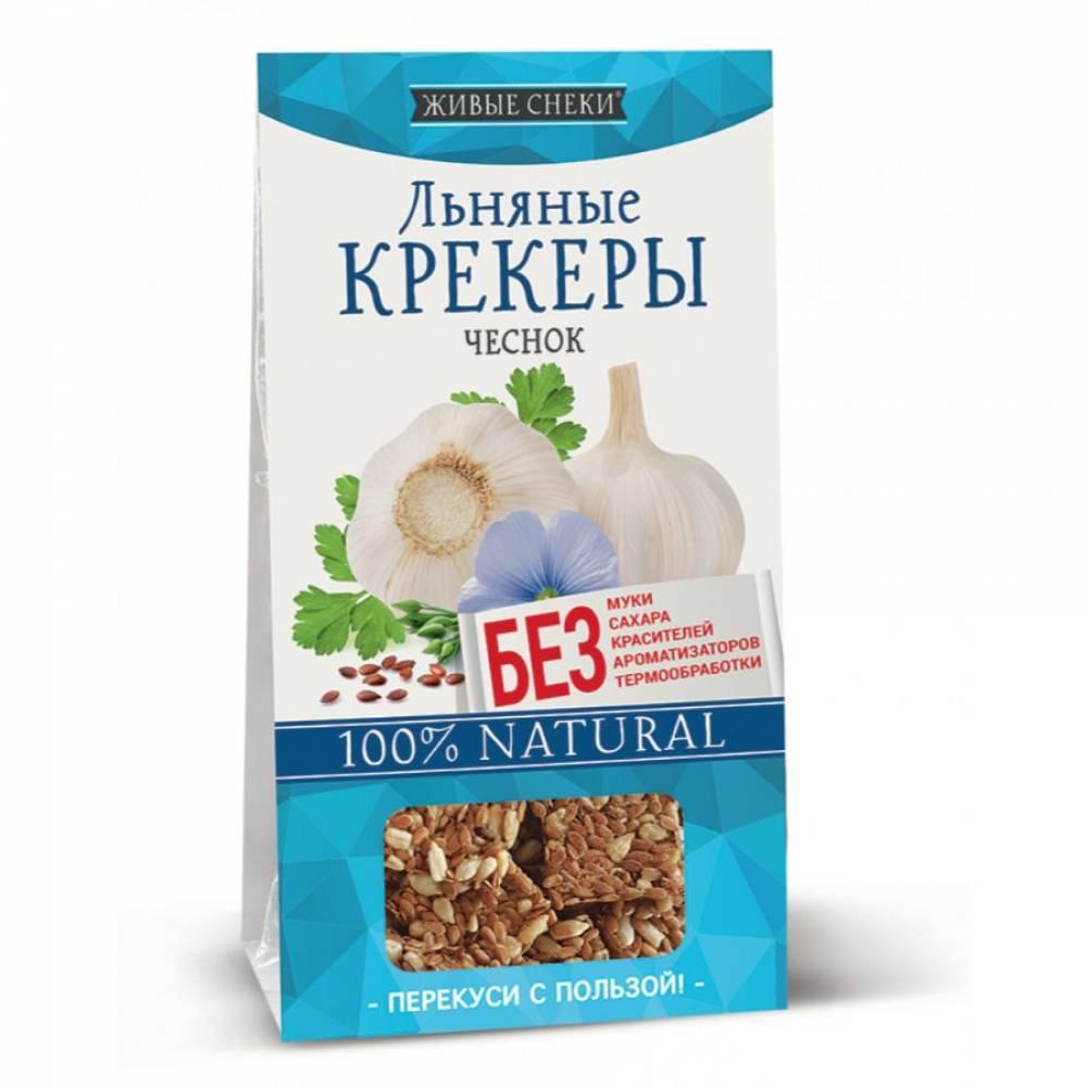 Льняные крекеры с чесноком Живые снеки, 60 гр