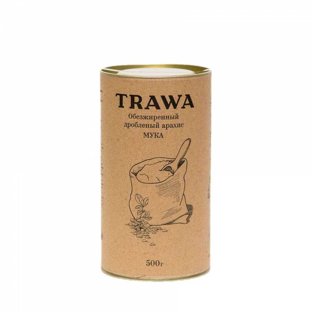 Арахисовая мука TRAWA из обезжиренного и дробленого арахисового ореха, 500 гр