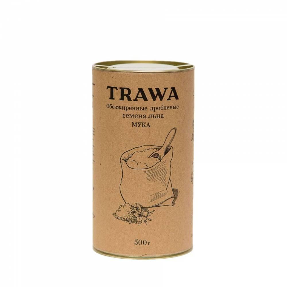 Льняная мука TRAWA из обезжиренной и дробленой льняной семечки, 500 гр