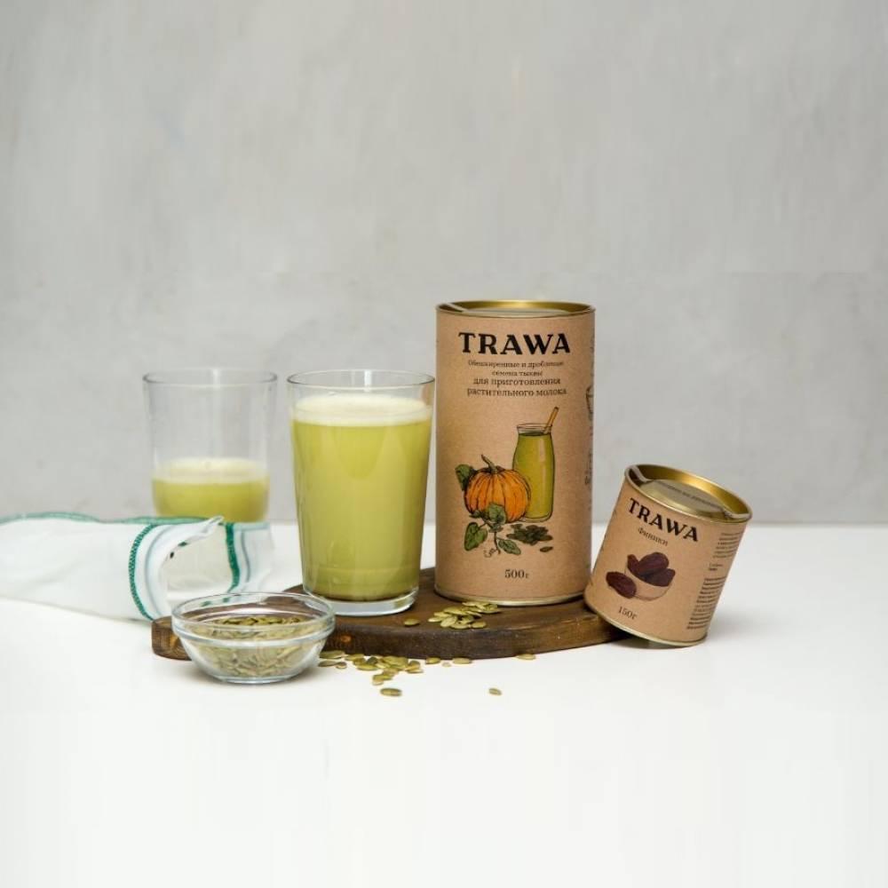 Тыквенная мука TRAWA из обезжиренной и дробленой тыквенной семечки для приготовления растительного молока, 500 гр