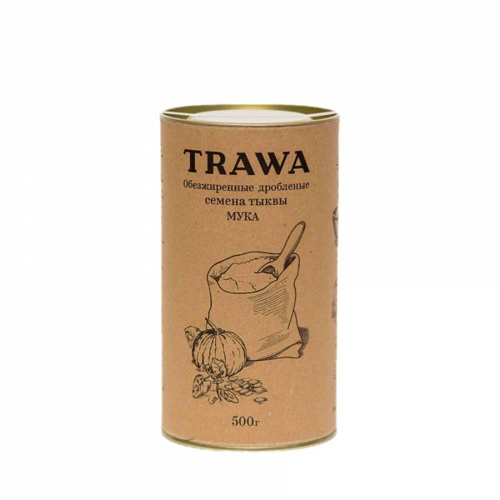 Тыквенная мука TRAWA из обезжиренной и дробленой тыквенной семечки, 500 гр