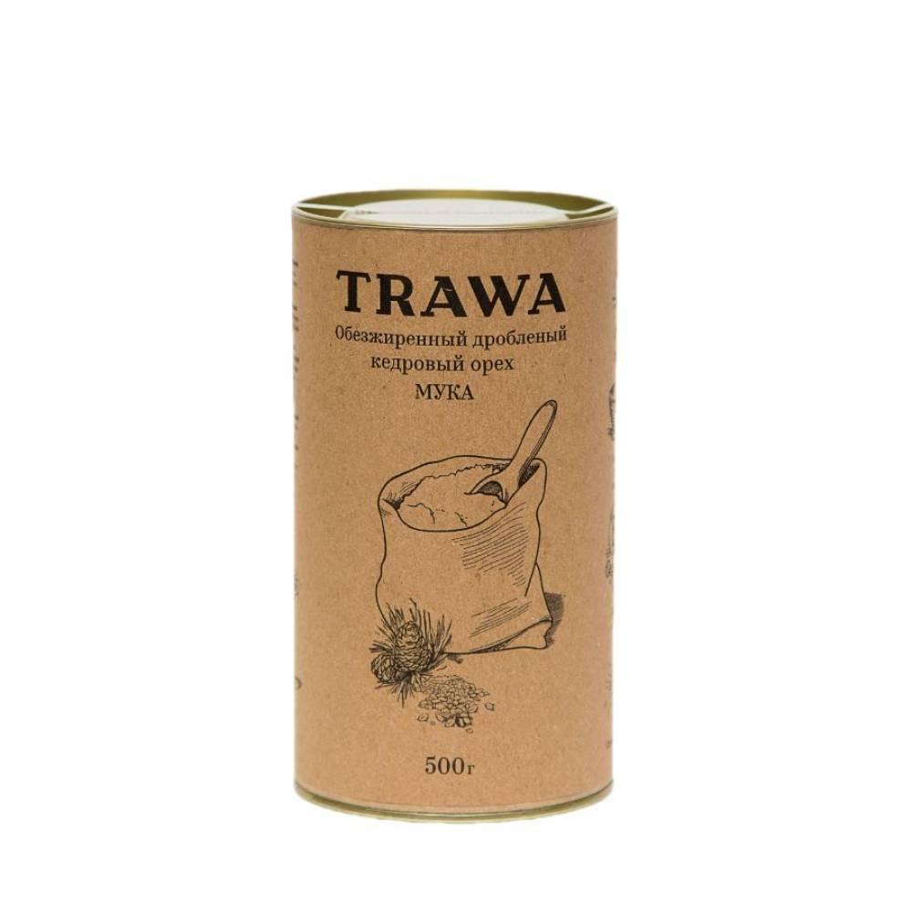 Мука кедрового ореха TRAWA из обезжиренного и дробленого кедрового ореха, 500 гр
