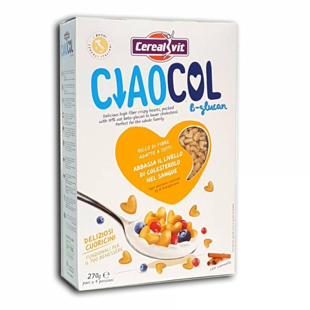 Хрустящие сердца Чао Кол без глютена с корицей, клетчаткой и бетаглюканом, Cerealvit, 270 гр