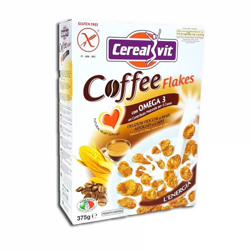 Хрустящие кукурузные хлопья без глютена с итальянским кофе и Омега-3, Cerealvit, 375 гр