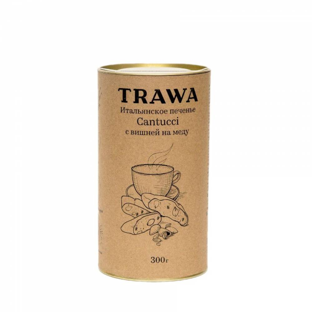 Печенье кантуччи TRAWA с вишней на меду, 300 гр
