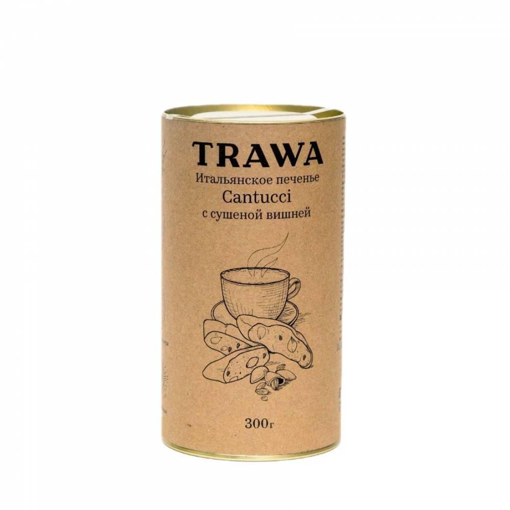 Печенье кантуччи TRAWA с сушеной теменой вишней, 300 гр