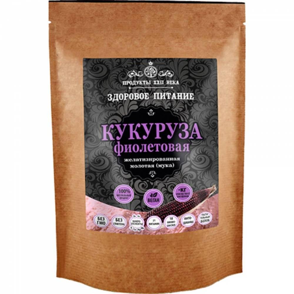 Фиолетовая кукуруза Продукты XXII века, молотая быстрого приготовления, 400 гр