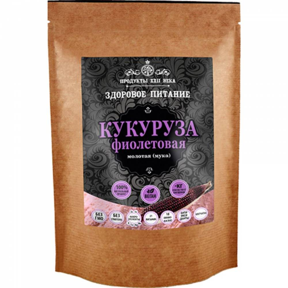 Фиолетовая кукуруза молотая Продукты XXII века, 400 гр