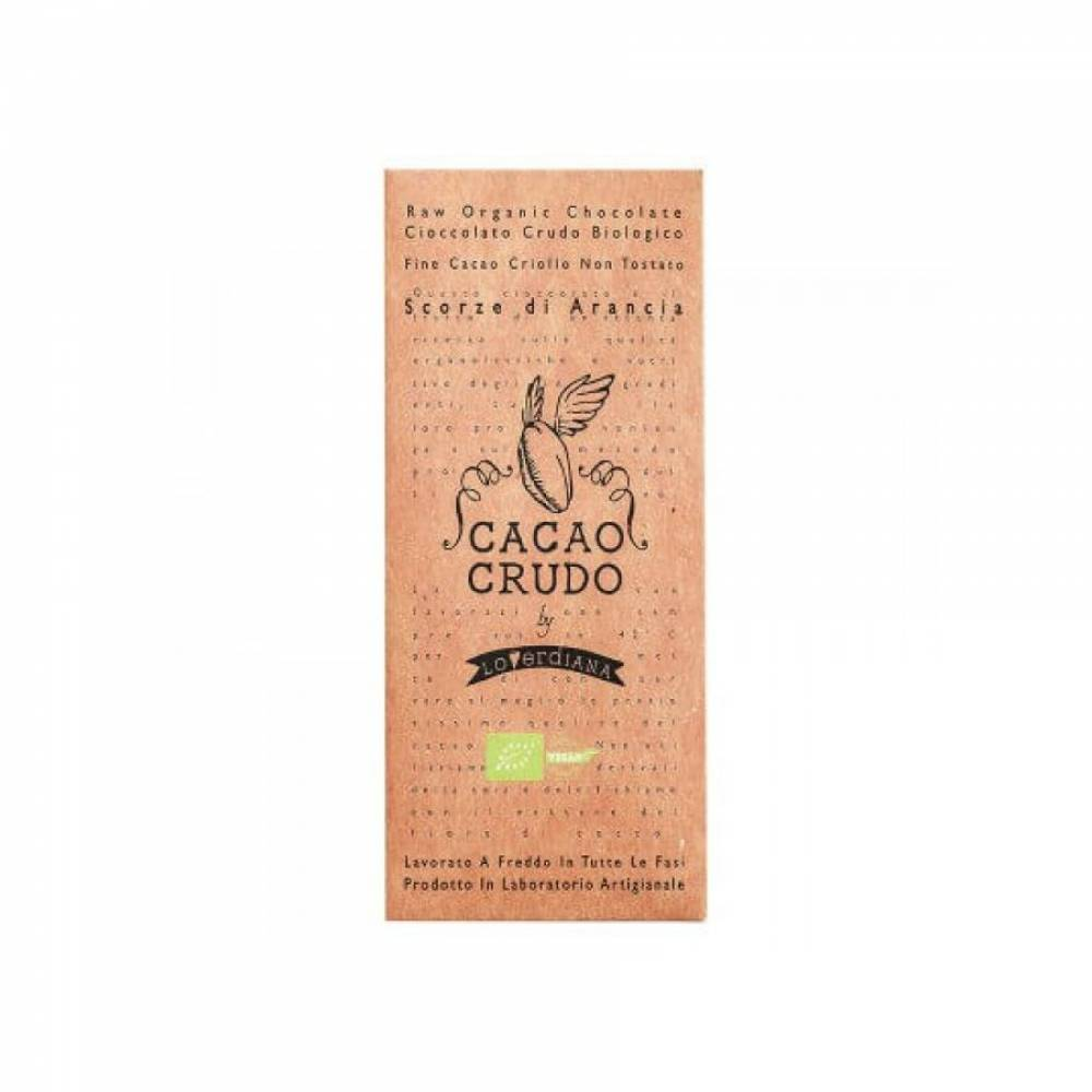 Шоколад Органик Премиум из 77% какао-пасты из необжаренных какао-бобов с цедрой Апельсина без глютена, Cacao Crudo, 50 гр