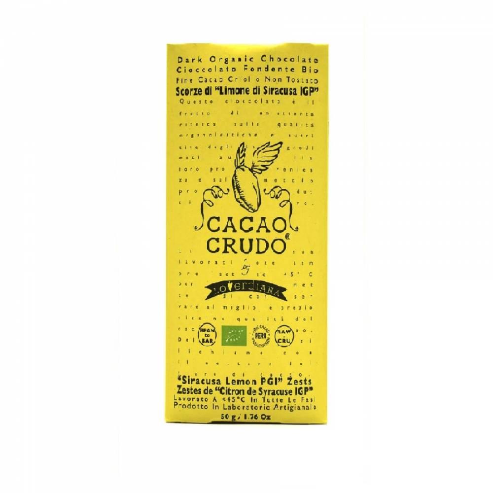 Шоколад Органик Премиум из 77% какао-пасты из необжаренных какао-бобов с цедрой Лимона без глютена, Cacao Crudo, 50 гр