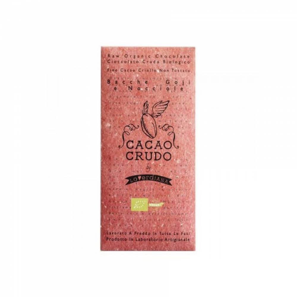 Шоколад Органик Премиум из 65% какао-пасты из необжаренных какао-бобов с ягодами Годжи и Фундуком без глютена, Cacao Crudo, 50 гр
