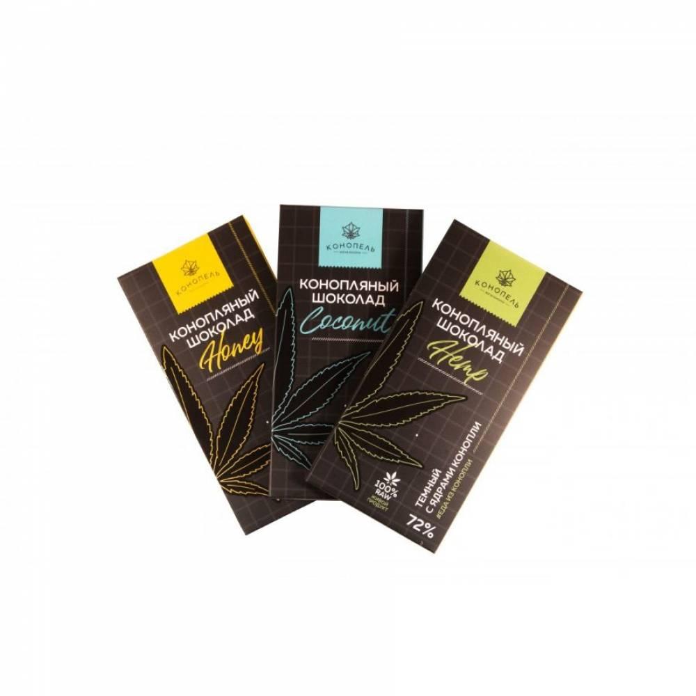 Натуральный темный шоколад с коноплей Coconut