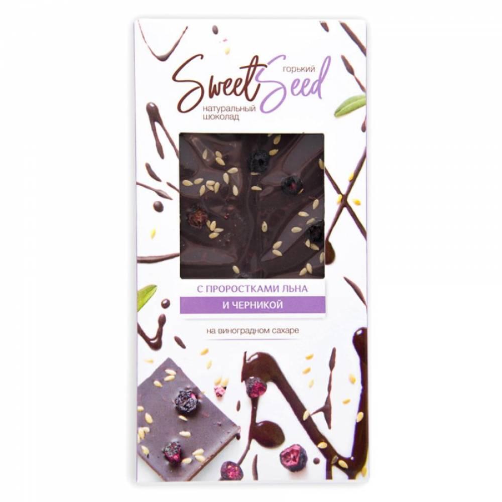Шоколад горький натуральный на виноградном сахаре Образ жизни с проростками белого льна и черникой, 85 гр