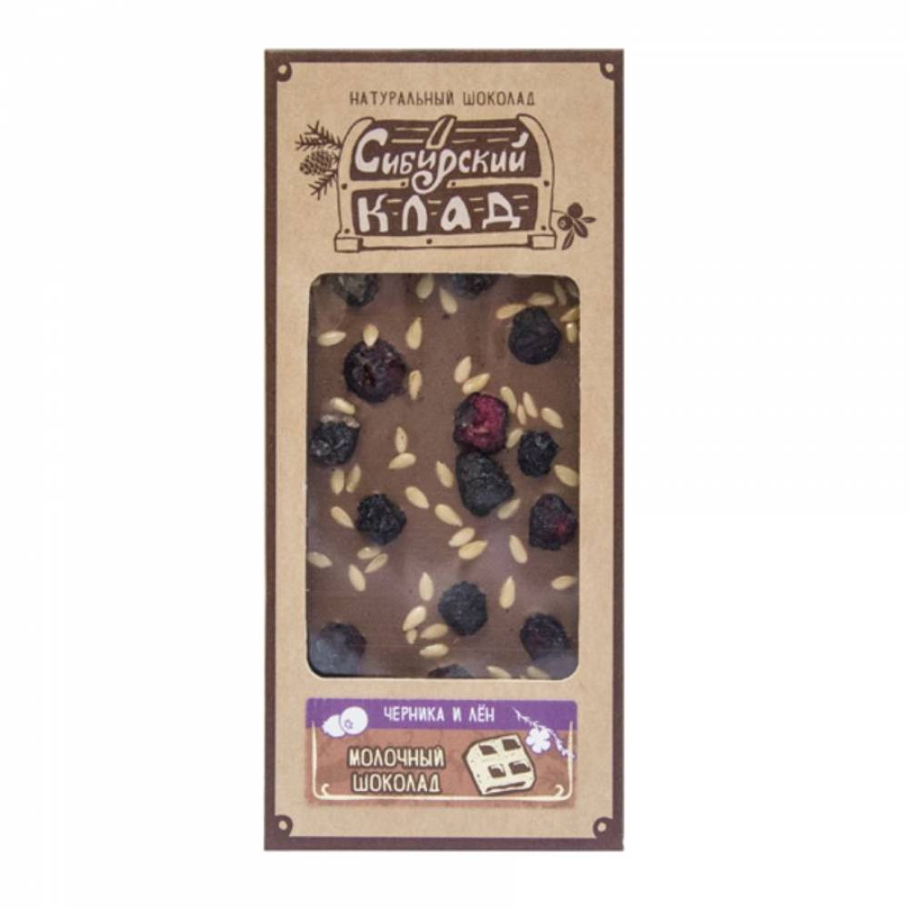 Шоколад молочный Черника и лён Сибирский Клад, 30 гр