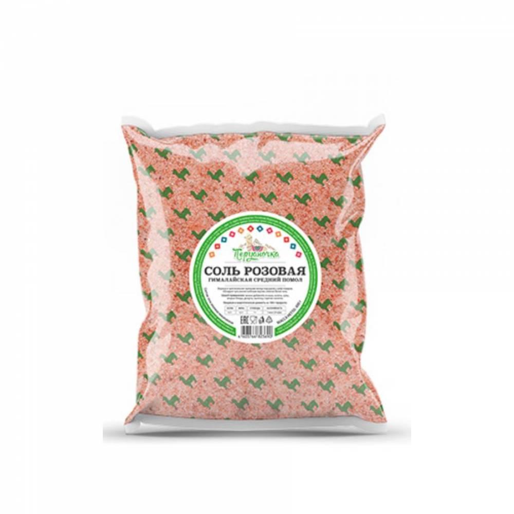 Розовая гималайская соль Перуаночка, средний помол, 1000 гр