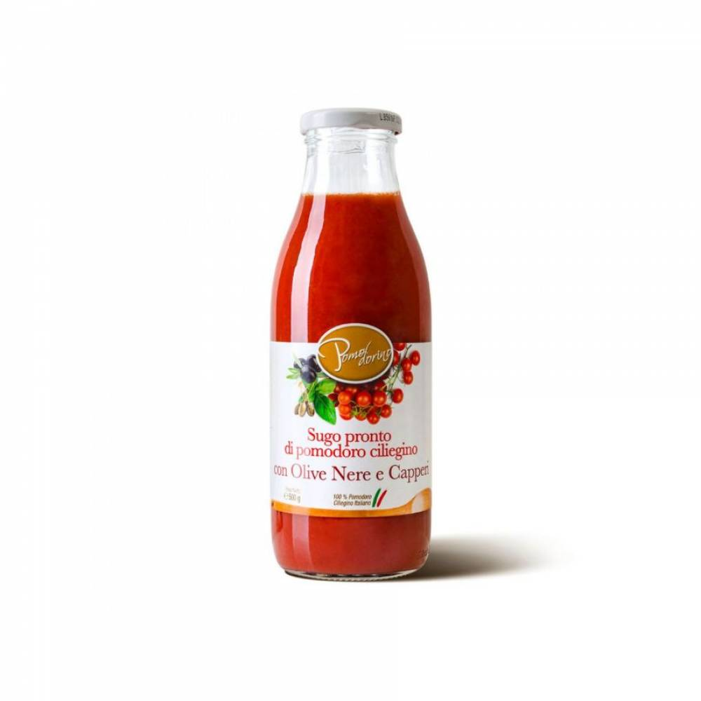 Томатный соус из сицилийских помидоров черри с оливками и каперсами, Pomodorino, 500 гр