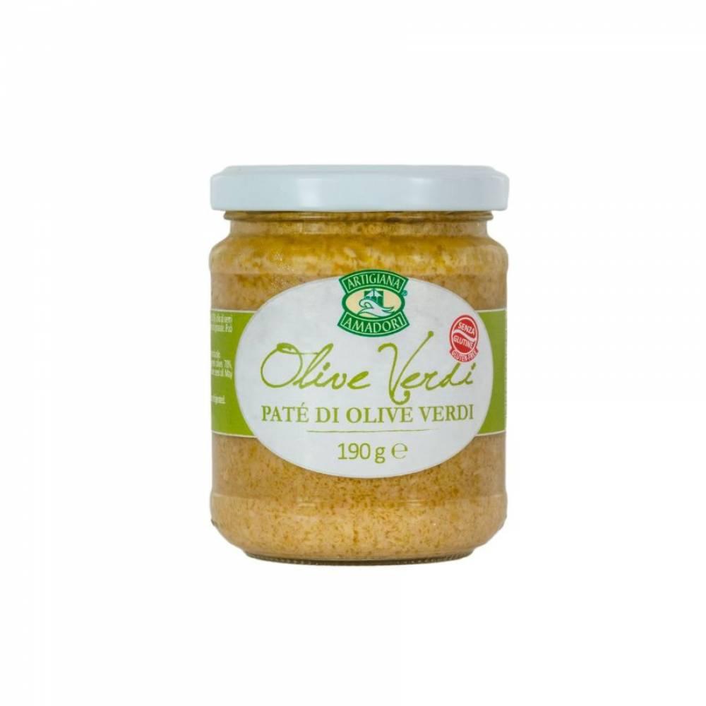 Соус Пате из зеленых оливок на подсолнечном масле, Artigiana Amadori, 190 гр