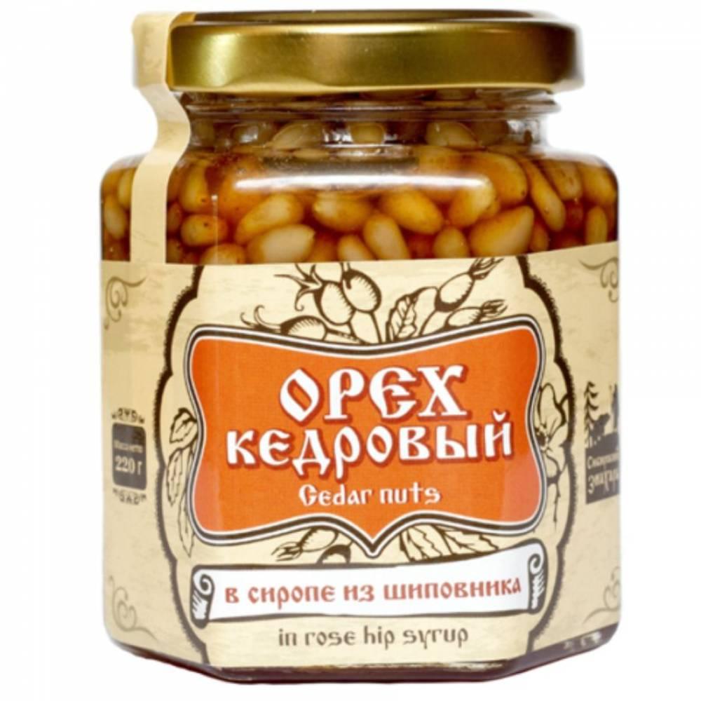 Ядро кедрового ореха в сиропе из шиповника Сибирский Знахарь, 220 гр